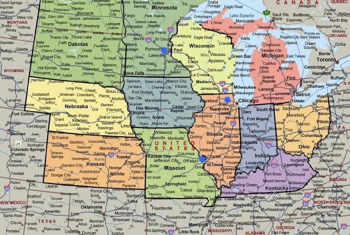 IBT service area map of midwest region